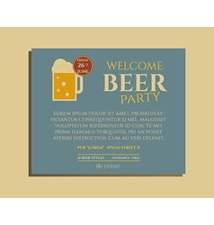 Beer party poster invitation template with glass vector