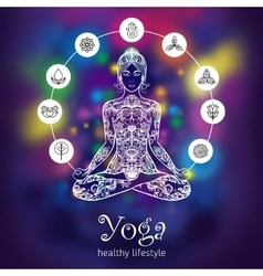 Yoga lotus meditating woman color banner vector image