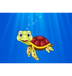 Cartoon sea turtle swimming in the ocean vector
