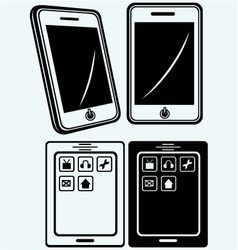 Mobile phone with blank screen vector