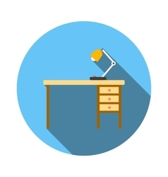 Wooden office desk with lamp flat style vector
