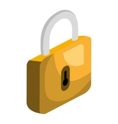 Security padlock isolated flat icon vector
