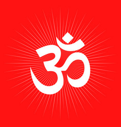 Aum or om symbol on light burst vector