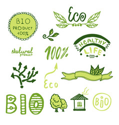 Badges label logo set green ribbons plants vector
