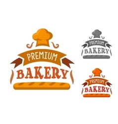 Bakery shop sign with baguette and toque vector image vector image