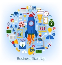 Business Start Up Concept with Set of Icons vector image vector image
