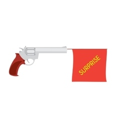 cartoon pistol with small flag vector image