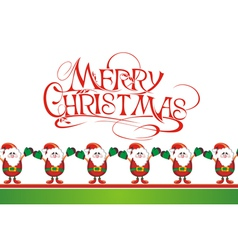 Christmas card with cute Santas vector image