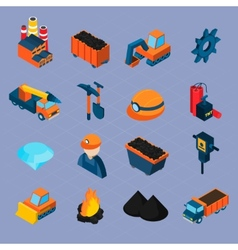Coal industry isometric set vector