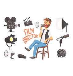 Film director sitting with megaphone controlling vector