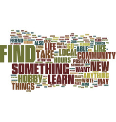 Find a new hobby text background word cloud vector