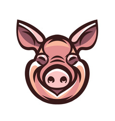 Funny smiling pink pig vector
