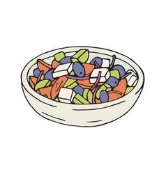 greek salad in plate vector image