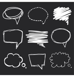 Hand drawn speech bubbles chalk on blackboard vector image