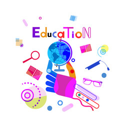 Hand holding globe education concept elearning vector