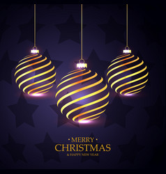 Hanging golden christmas balls on purple vector