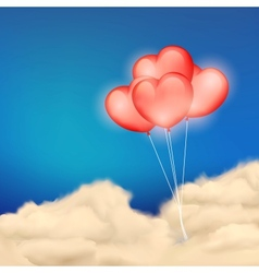 Heart balloon in cloudscape vector