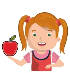 Little kid with apple vector