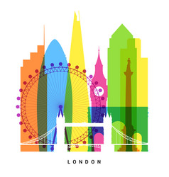 London landmarks bright collage vector
