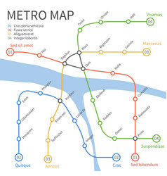 metro subway train map urban vector image