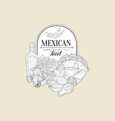Mexican food vintage sketch vector