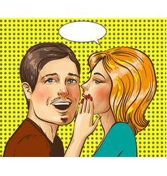 Pop art of happy couple vector