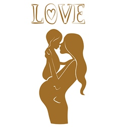 Pregnant mother with baby lovely design vector