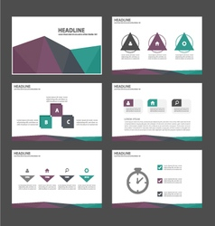 Purple green purple presentation templates set vector