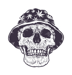 Rasta skull in hat vector