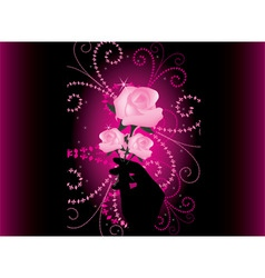 roses in hand vector image vector image