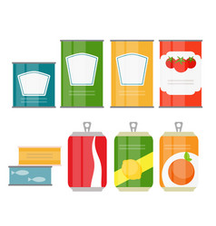 Set of cans template in modern flat style isolated vector