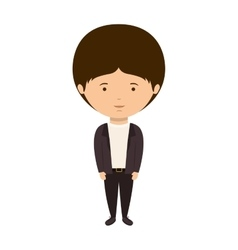 Silhouette man dressed eighties style vector