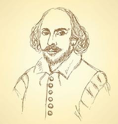 Sketch william shakespeare portrait in vintage vector