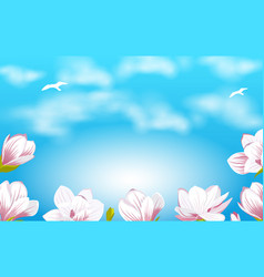 Summer background with beautiful magnolia flowers vector