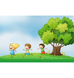 Three energetic kids playing at the hilltop with a vector image