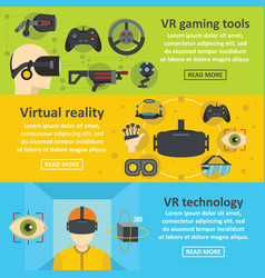 Virtual reality banner horizontal set flat style vector
