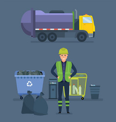 worker collect garbage in garbage truck vector image