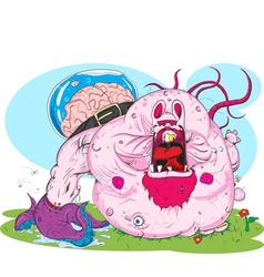 zombie pink rabbit vector image vector image