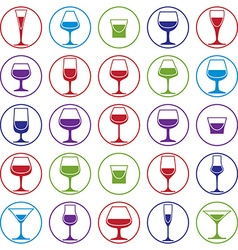 Drinking glasses collection martini wineglass vector