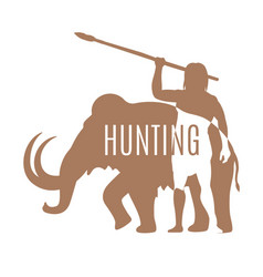 Ancient man hunting mammoth logo template vector
