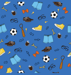 Blue male seamless pattern background vector