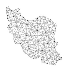 Map of iran from polygonal black lines and dots vector
