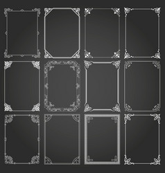 Decorative rectangle frames and borders set 2 vector