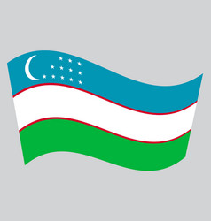 Flag of uzbekistan waving on gray background vector