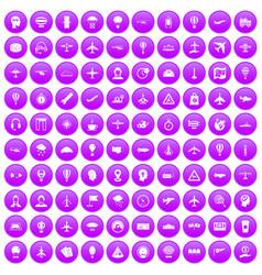 100 aviation icons set purple vector