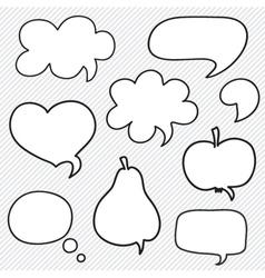 Set of hand drawn speech bubbles vector image