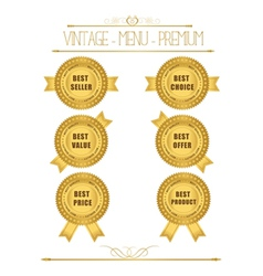 Set of blank round polished gold metal badges vector