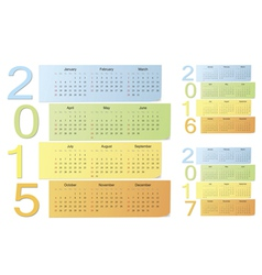 European 2015 2016 2017 color calendars vector