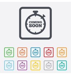 Coming soon icon promotion announcement symbol vector