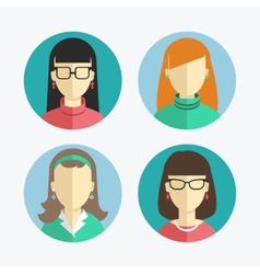 Flat design women and girls icons vector